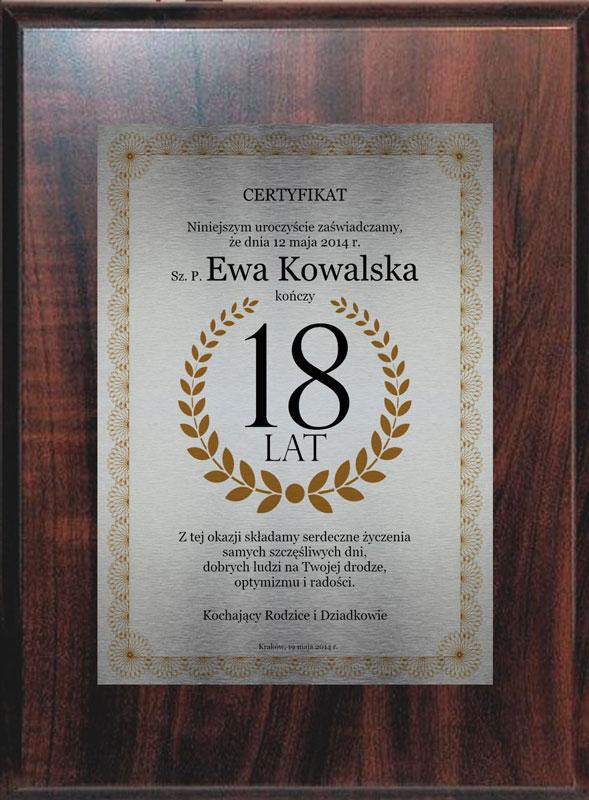 Dyplom 18 lat srebrny