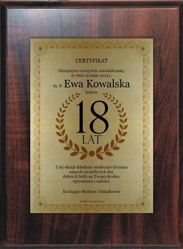 Dyplom 18 lat złoty